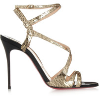 Christian Louboutin - Audrey 100 metallic coated suede sandals