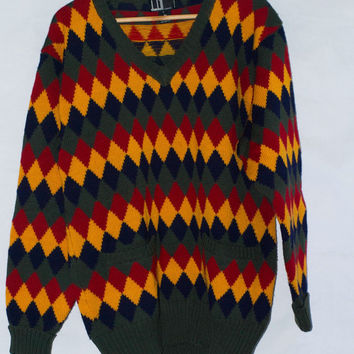 Vintage Men's Dunhill London Wool Argyle Sweater Size Large.
