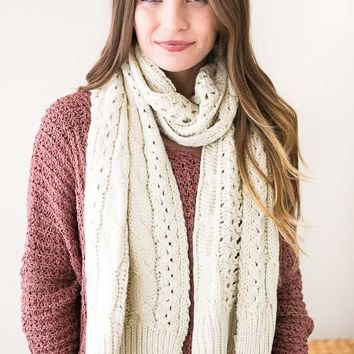 Cable Car Knit Scarf- Ivory