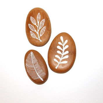 Decorative painted Pebbles- Bamboo Pebles- Meditational Rocks- Interior decor- Gift-