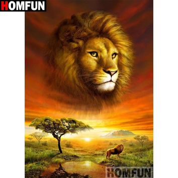 5D Diamond Painting Lion King of the Jungle Kit