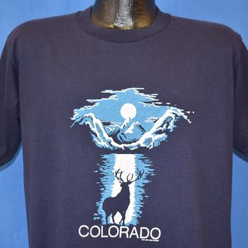 80s Colorado Elk Full Moon Mountains t-shirt Large