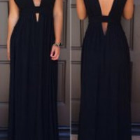 Black V-Neck Cut-Out Maxi Dress