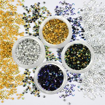 4 Box Shiny Resin Rhinestones Nail Art Decorations 2mm Gold Silver Purple Green Bead Set Flatback Sticker Nail Supplies CH124