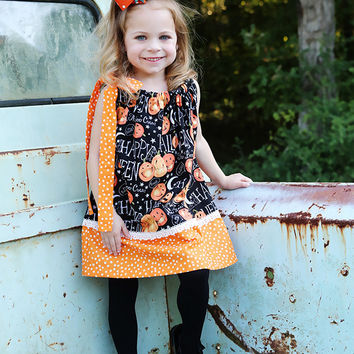 Polka Dot Pumpkin Face Pillowcase Dress with Moons and Stars
