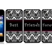 Best Friends Set of 3 Black and White Damask Friendship Snap-On Covers Hard Carrying Cases for iPhone 4/4S