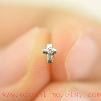 Nose ring,little cross,glitter cross nose stud,316L Surgical Steel Nose Rings,girlfriend gift,oceantime