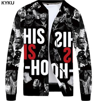 Trendy KYKU Brand Band Jacket Men Character Bomber Jackets Baseball Thin Retro Black 3d Printed Coat Punk Rock Mens Clothing New 2018 AT_94_13