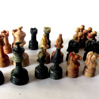 Old  game chess pieces. Chess game pawns. Faux marble chess pawns. Bakelite game pieces. Vintage.
