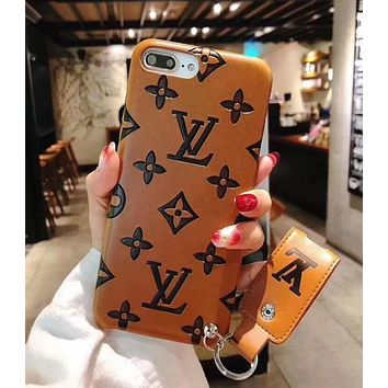 LV Louis Vuitton Fashion Classic iPhone X iPhone 8 plus - Cute Hot Couple Phone Case For iphone 7 6s 6plus 6s plus +Soft Shell Brown I12269-1