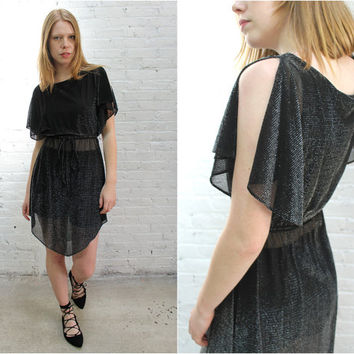 1970s black disco dress / silver metallic lurex sheer flutter sleeve sexy dress