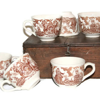 Brown Transfer Ware - Tea Cups Staffordshire England - Set of Six - Fair Winds - Alfred Meakin Historical Scene
