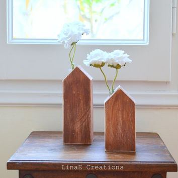 Wood bud vases set with test tubes, rustic wooden houses, spring summer home decor