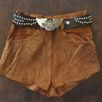 Orange Blossom Special highwaisted suede shorts