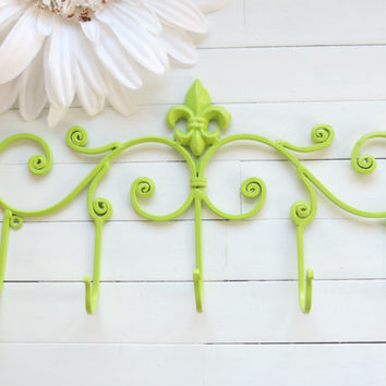 Fleur De Lis Decor / Metal Wall Hanger / Wall Hook / Jewelry Rack / Towel Rack / Coat Hook / Lime Green / French / Modern Decor