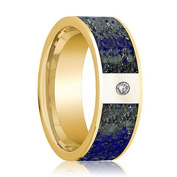 Mens Wedding Band 14K Yellow Gold with Blue Lapis Lazuli Inlay and Diamond Flat Polished Design