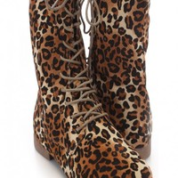 Camel Leopard Lace Up Boots