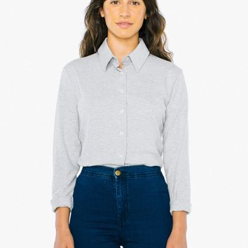 Fine Jersey Long Sleeve Button Up | American Apparel