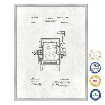 1899 Coffee Roasting Machine Antique Patent Artwork Silver Framed Canvas Print Home Office Decor Great for Coffee Lover Cafe Tea Shop