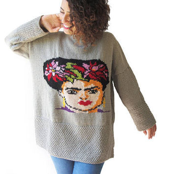 Frida Kahlo Hand Knitted Sweater
