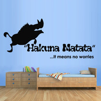 Wall Decal Vinyl Sticker Decals Art Design Sign Quote Hakuna Matata Film Letters Pumba Kids Lion King Bedroom Dorm Modern Style (m1340)