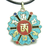 Amulet Tibetan Mantra Ancient Om Mani Padme Hum Medallion Lotus Magic Symbols Pendant Necklace