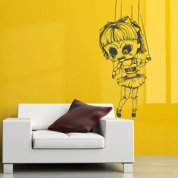 I172 Wall Decal Vinyl Sticker Art Decor Design Girl doll horror fear blood eye movie cartoon rope small dead Mural Living Room