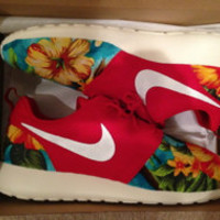 Custom Roshe Run Red Floral