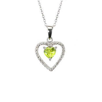 925 Sterling Silver Genuine 1pt Diamond and Peridot Open Heart Pendant Necklace