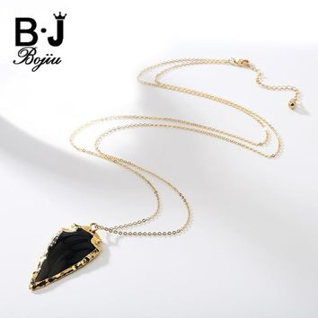 Bojiu Women New Fashion Druzy Arrowhead Pendant Crystal Bead Handmade Cable Chain Long Necklace For Women NKS045