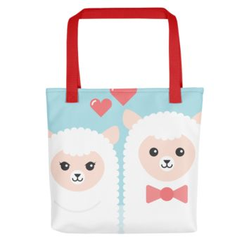 Alpacas in Love - Fashion Tote Bag With a Zipper