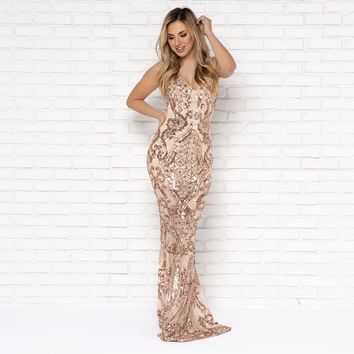 Hope You Dance Rose Gold Sequin Maxi Dress