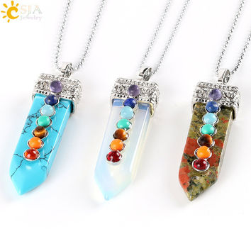 VIP CSJA Natural Round Stone Beads 7 Chakra Pendant Necklace Sword Pendulum Charms Healing Yoga Jewellery Women Men Valentines Day Gift E332 B