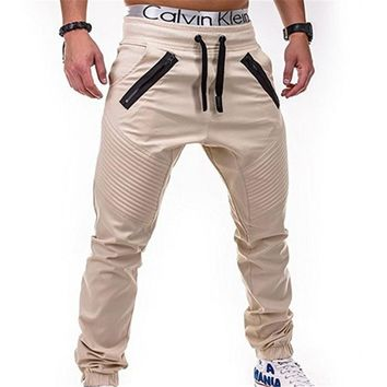 Men's casual pants fitness Cargo Pants Solid Khaki Breathable Summer Large Size Multi Pocket Long Trouser Spliced Pantalon Homme