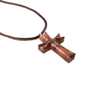 Wood Cross Necklace, Christian Jewelry, Wooden Cross Pendant, Wood Pendant, Wood Jewelry, Hand Carved Cross, Men Cross Necklace, Wood Cross
