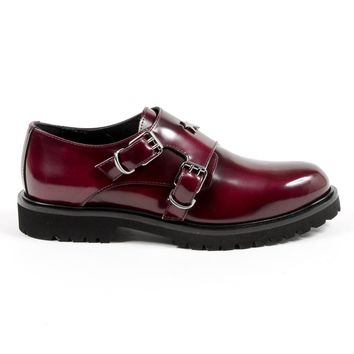 Andrew Charles Womens Monk Strap Shoe Bordeaux Janis
