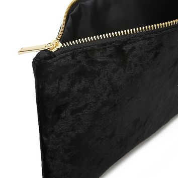 Crushed Velvet Makeup Pouch