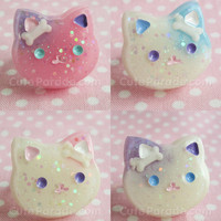 Glittery Galaxy Glow in the Dark Kitty Cat with Bone Resin Ring (PICK 1)  Kawaii Lolita Fairy Kei Creepy Cute Pastel Goth