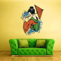 Full Color Wall Decal Mural Sticker Art Geisha Asian Japan Japanese Girl Woman Umbrella (col206)
