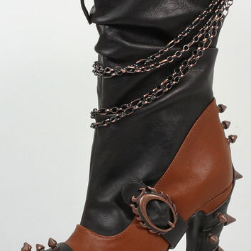 """FALINE, 5"""" Heel Two-Tone Mid-Calf Boots with Metal Chains and Spikes in Black Patent"""
