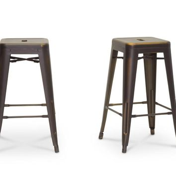 Baxton Studio French Industrial Modern Counter Stool in Antique Copper  Set of 2