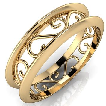 Marie Classic Pattern Design Filigree Eternity Wedding Band