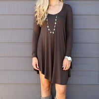 Follow Your Heart Brown V-Neck Long Sleeve Casual Dress