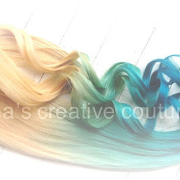 Mermaid Blonde Ombre, Blonde Hair extensions dipped in Pastel Blue faded into Ocean Blue, Custom Your Own