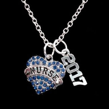 Nurse 2017 Blue Crystal Heart Valentine Graduation Gift Charm Necklace