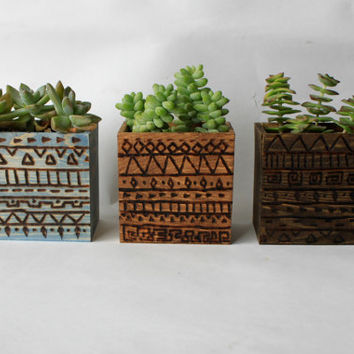 Succulent Wood Burn Tribal Print Plant Box/Vase