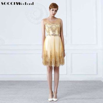 Socci Weekend Tulle Lace Gold Cocktail dress Short Mother Of The Bride dresses Formal Prom Gown Wedding Party Vestidos De Coctel