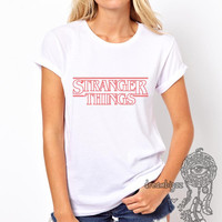 Stranger Things Outline Red Logo printed on Women tee
