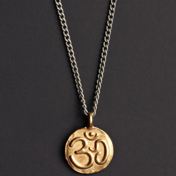 Vermeil Gold OM & Lotus Necklace for Men