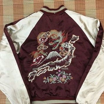HALF PRICE Sukajan 90s Medium Jumper Japan Yokosuka Mountain Dragon Embroidery Japanese Satin Bomber Souvenir Jacket Size M #P3
